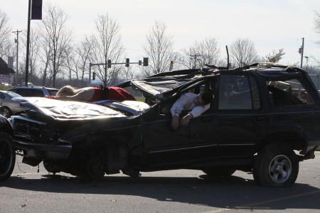 A mangled car and