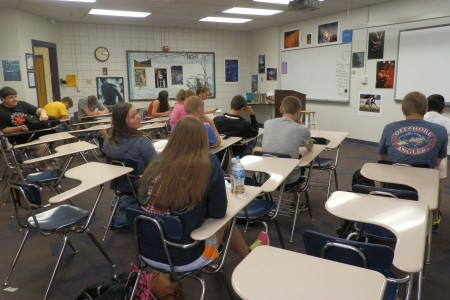 Mrs.+Krystal+Phillips%27+4th+hour+Senior+Literature+class+sits+quietly+as+the+room+of+30+is+down+to+13+students%2C+Aug.+19.+Many+of+the+17+absent+students+were+attending+the+funeral+of+the+Oliver+sisters.+