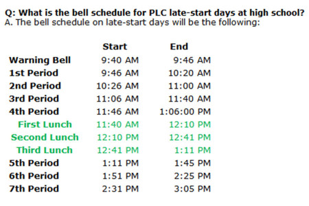 The Late-Start schedule for 2013-2014 is the same as last school year.