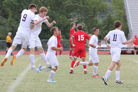 Members+of+the+Soccer+team+celebrate+during+their+game+vs+Kirkwood%2C+Sept.+5.