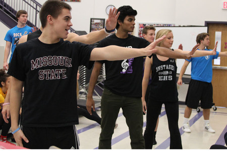 Kyle Anderson and Rejoy Samuel practice choreography for OnStage! in Ms. Donna Baker's fourth hour class, Oct. 23.