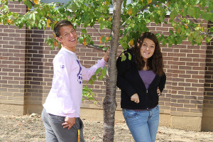 Nick Hoeflinger and Katie Rippe (12) sport appropriate fall fashion with long sleeves, pants and even a jacket, Oct. 10.