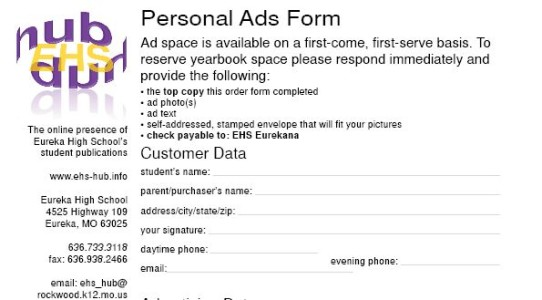 Yearbook personal ad space still available