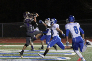 Nick Rebecca hauls in one of his two touchdown catches against Northwest, Nov. 5.