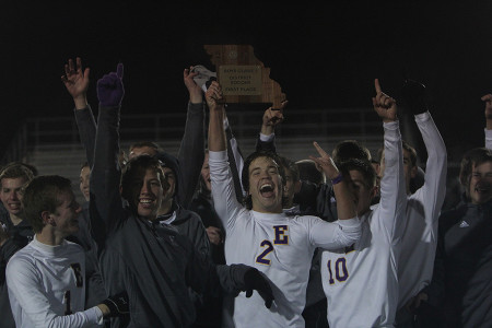 The Wildcats celebrate after winning the district championship game, Nov.6.