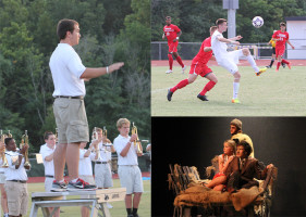 JD Engle, drum major, conducting the marching band at the Rockwood Reservation competition, Aug. 23; Justin Armfield, forward, keeping the ball from a Kirkwood player, Sept. 5; Nick Vogl, Kate Dyson and Andrew Guardia performing a scene from Young Frankenstein at dress rehearsal, Nov. 4.