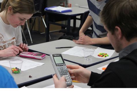 Dilligently working with their caclulators and skittles, Shannon Goode works in Mrs. Widsom's 5th hour AP Statistics class.