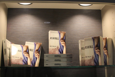 Michael Mullins books on display in the library, April 13.