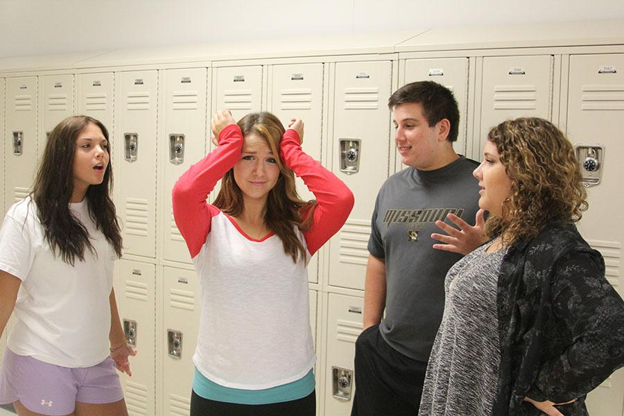 Photo illustration: Lauren Dell (left), Jon Hoeflinger, and Kendra Coughlin (right) act out the stress from the pressure of others