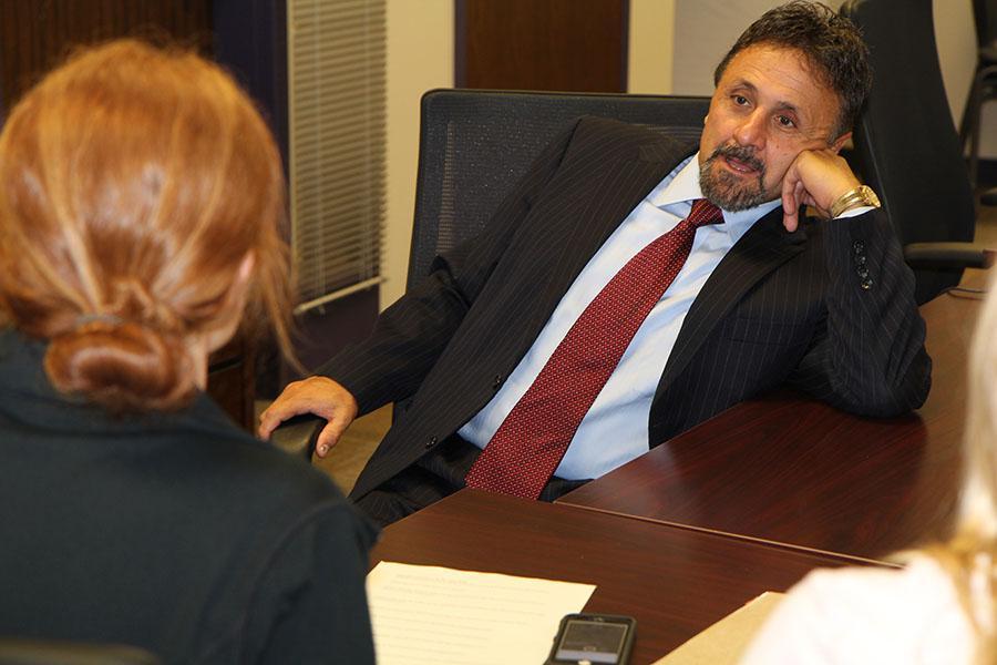 Mr. Frank DeAngelis speaks in an interview with Hub reporters, Tiffany Skaggs and Lauren Rocca, Sept. 15.