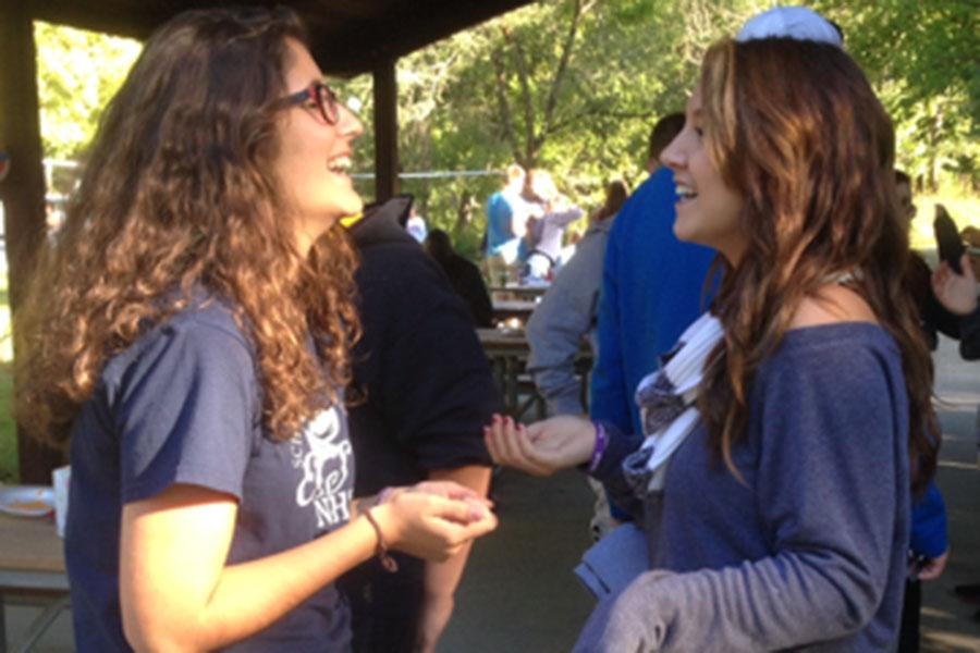 Mary Kay Gagnepain, editor-in-chief, and Natalie Hinds, opinions editor, mess around at the Publications Picnic, Sept. 13.