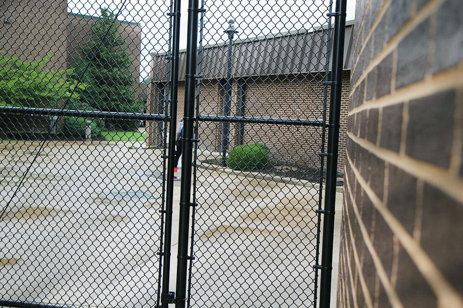 The+security+gate+by+the+gyms+went+up+after+the+tragedy+at+Sandy+Hook+in+2012+as+a+precaution%2C+to+insure+student+and+faculty+safety.+Such+tragedies+are+not+new+to+American+schools.+Mr.+Frank+DeAngelis%2C+today%27s+speaker%2C+was+principal+at+Columbine+when+two+students+attacked+the+school+and+killed+13+people+in+1999.