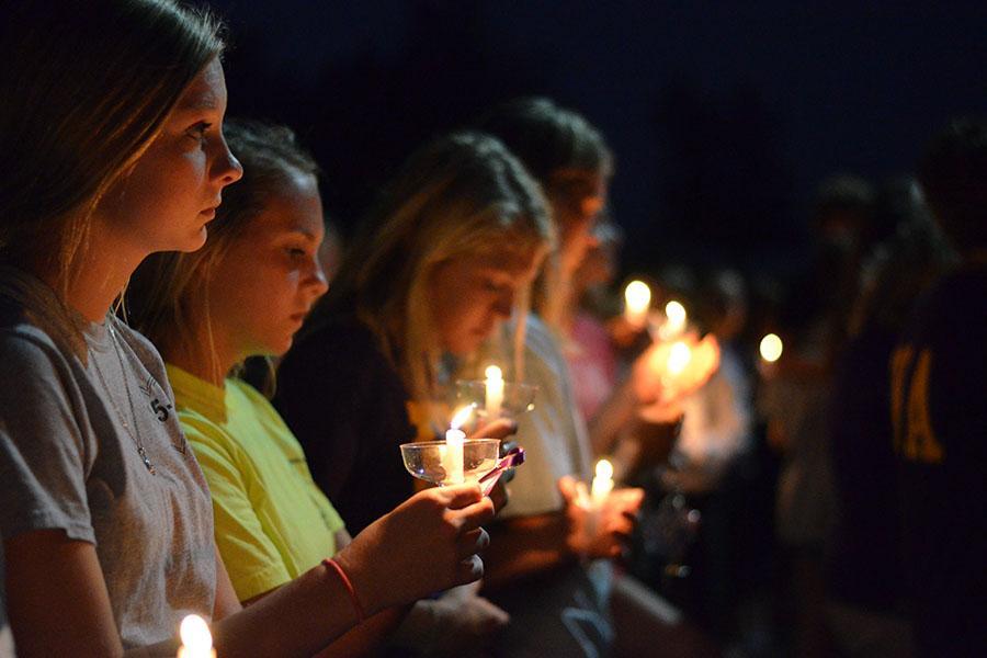 Eureka community gathered for a candle light vigil held for Natalie Timm, October 2, 2014.