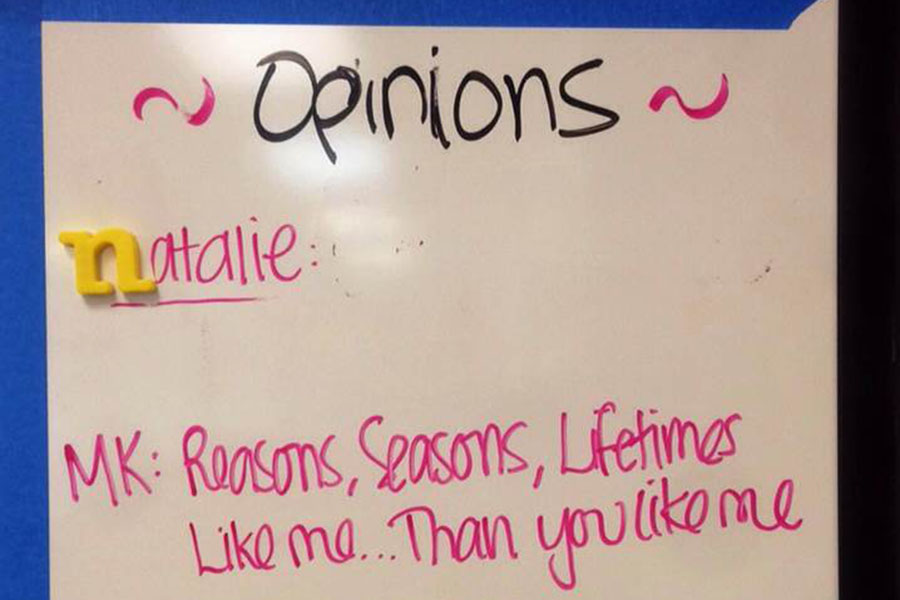 This is the Opinions portion of the EHS-hub calendar. Like my ideas and thoughts, my area on the board is blank.