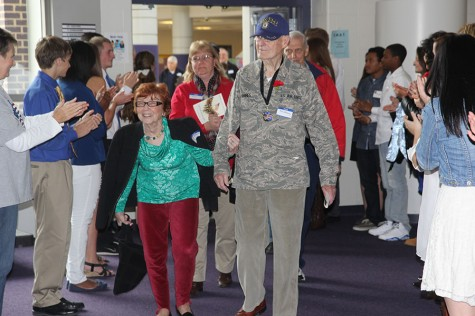 Mr. and Mrs. Kenneth Dames proceeding into the lunch room after attending the Veteran's Day assembly, Nov. 11.