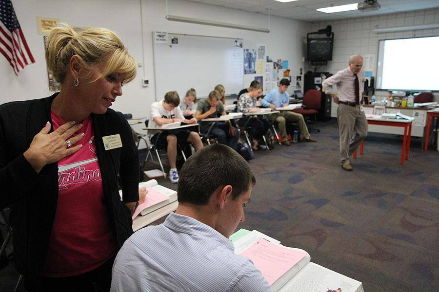 Mrs. Jennifer Strauser, associate principal, observes Mr. Harry Witt's Senior Literature class, Oct. 15.