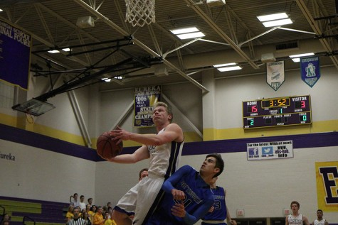 Conner Walden, guard, battles to the rim for a lay-up against Northwest, Feb. 3.