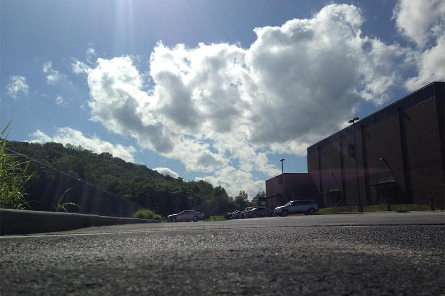 The empty EHS parking lot as students are out enjoying summer break, May 26.