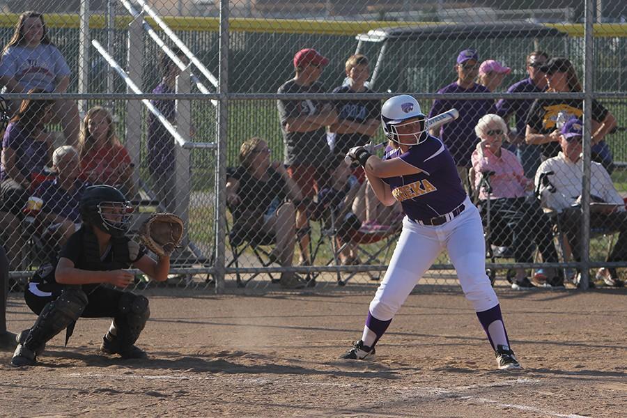 Sherrie Schmelig (12) up to bat, Sept. 23.