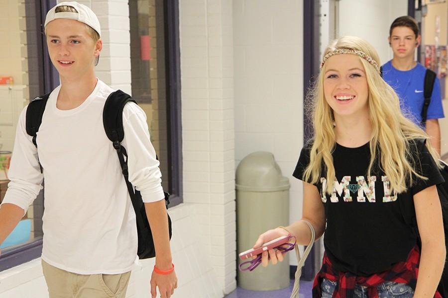 Brandon Kirn and Ellie Baker (10) dress up for hipster vs. prep day, Sept.