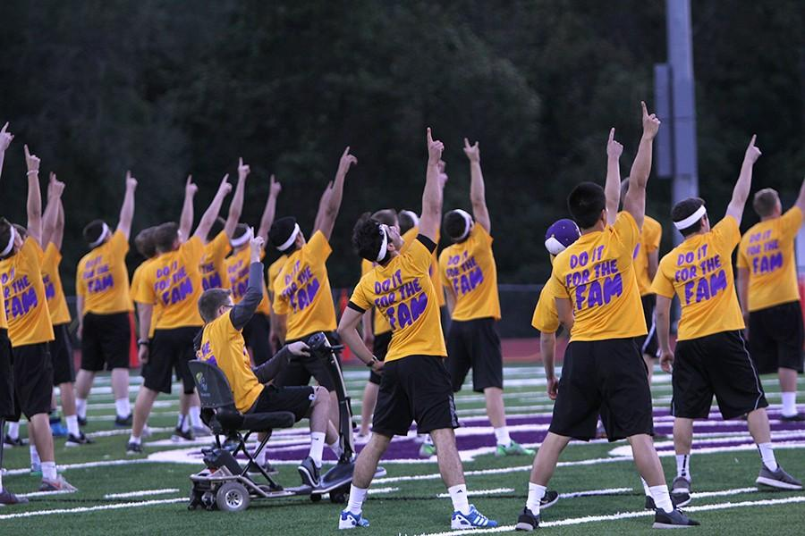 Golden Guys preform their routine during half time during the powder puff game, Oct. 1.
