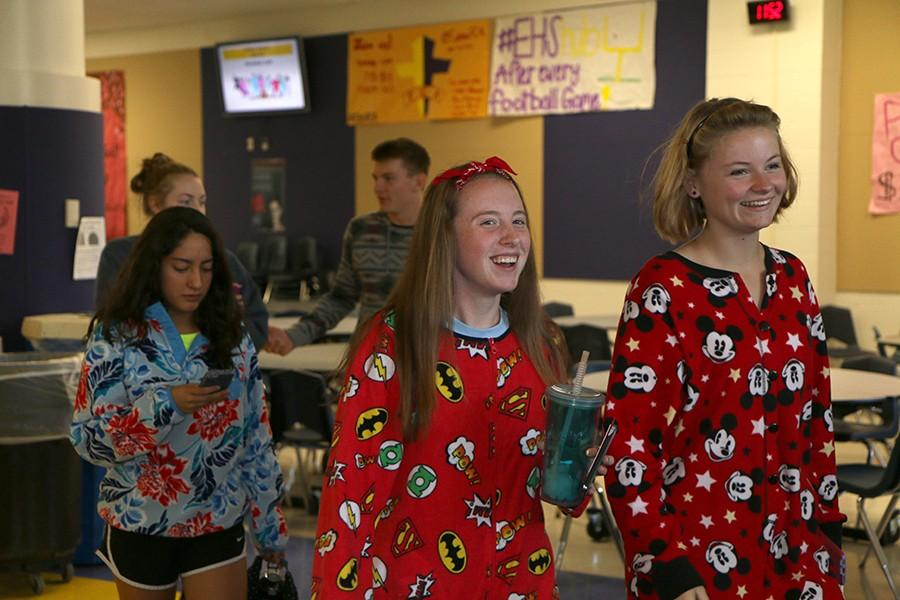 Students laughing after lunch during Pajama Day, Oct. 1.