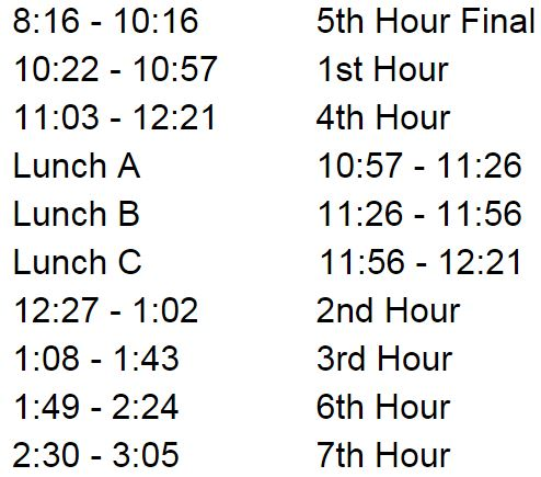 5th hour exam schedule