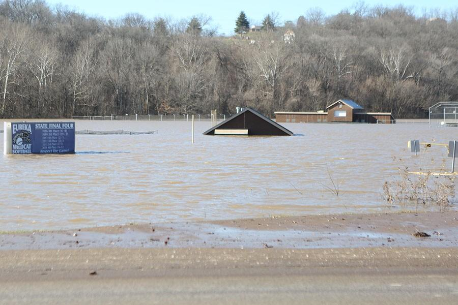 EHS softball field underwater, Jan. 1, 2016
