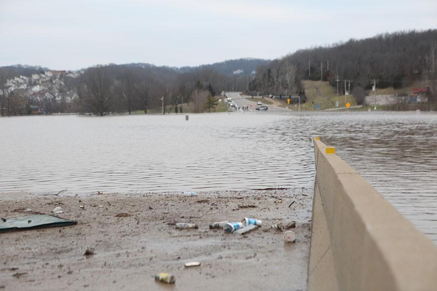 Water at its highest causes 109 in front of EHS to close, Dec 30.
