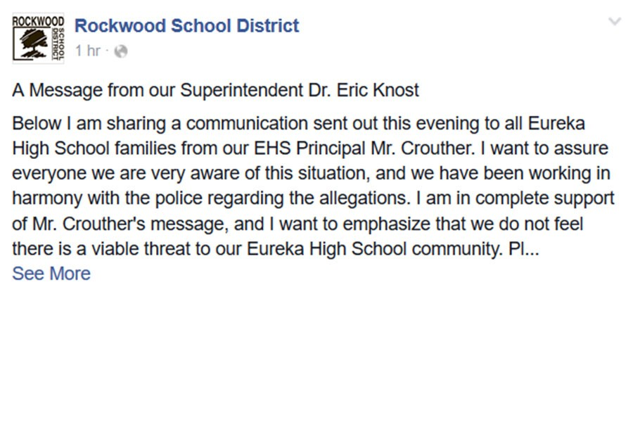 Dr, Eric Knost, superintendent,  official statement, Feb. 10.