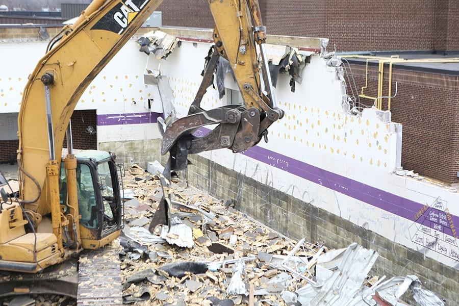 Demolition is underway on the weight room, March 3.