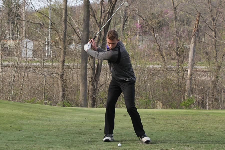 Michael Orso, varsity golf, drives the ball during the match against Seckman South at the Legends Golf Course, April 5.