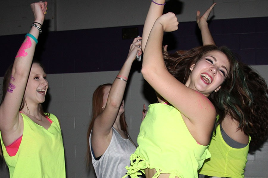 Alyssa Hawkins, Class of 2015, Anna Roberts and Natalie Hinds (12) having fun at NightGlow, Feb. 27, 2015.