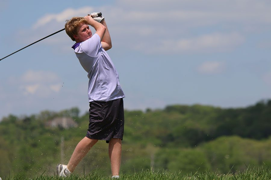 Matthew Maher, jv golf, swings at Aberdeen Gold Club, 4/26