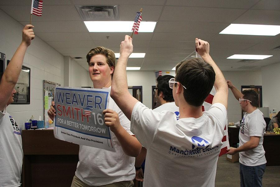 Jake Smith (11), Jack Falcone (11), Isaac Miller (11), and Jack Randa (11) rally for Nick Weaver's student counsel campaign, April 6.