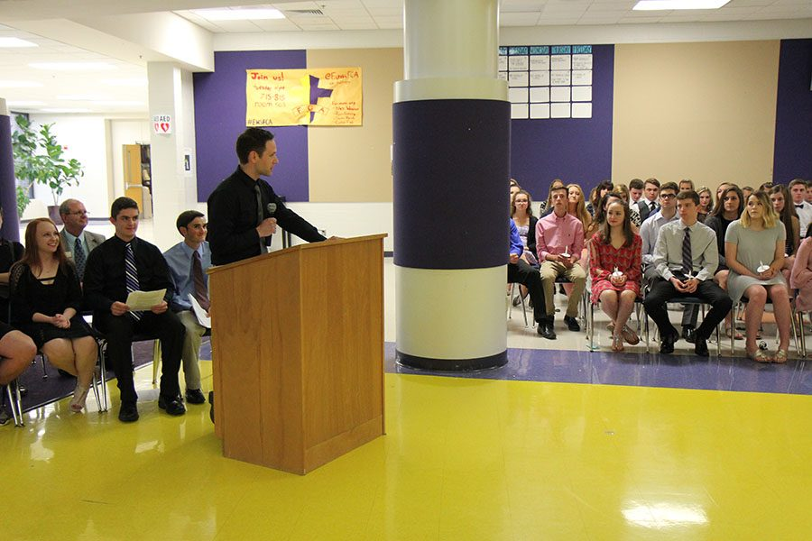 Mr. Andrew Ribbing speaking at the National Honor Society's induction ceremony, 4/20.