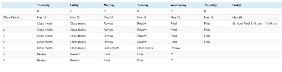 Senior final schedule