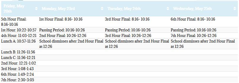 Final Exam Schedule 15-16
