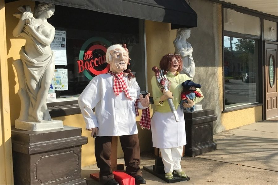 Two scarecrows outside of Joe Barcadi's in Eureka for Halloween and the month of October, not dressed like clowns.