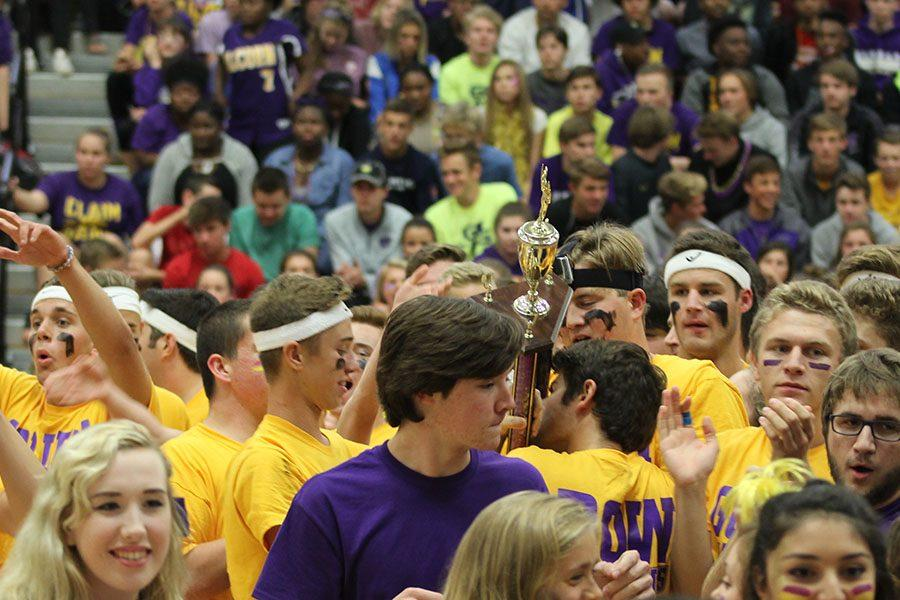 Jake Smith, senior class vice president, ripped the trophy out of someone's hands to give him and me the moment of triumph we've been yearning for since freshman year at the end of the Pep Assembly, Sept. 30.