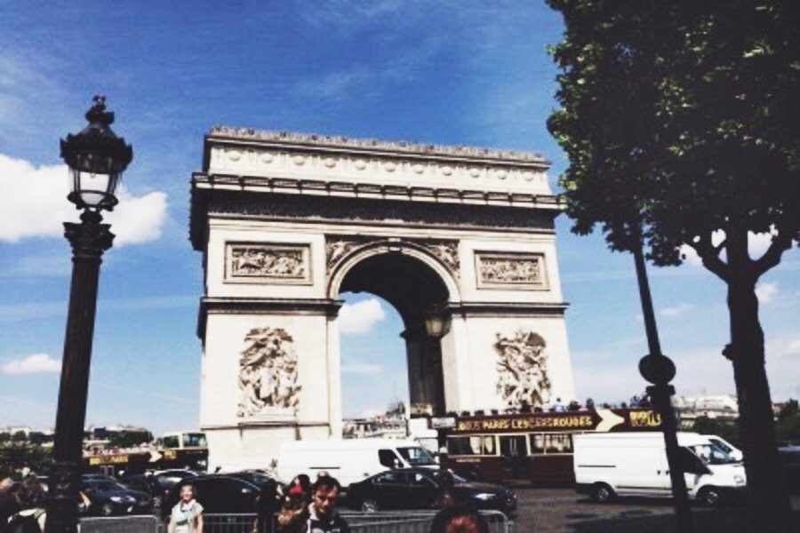 The Arc de Triomphe stands tall in Paris, France, June 2015. It is just one of the famous landmarks Google Cardboard allows users to visit through the Paris VR application.