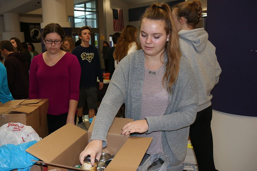 "Canned goods piling up, Brooklyn Scheer (10) counts cans for StuCo, Nov. 14. ""It felt really good to help out,"" Scheer said. ""I haven't really done that a lot and I know I need to do that more so I'm glad I could help."" EHS brought in 25,116 items in the canned food drive."