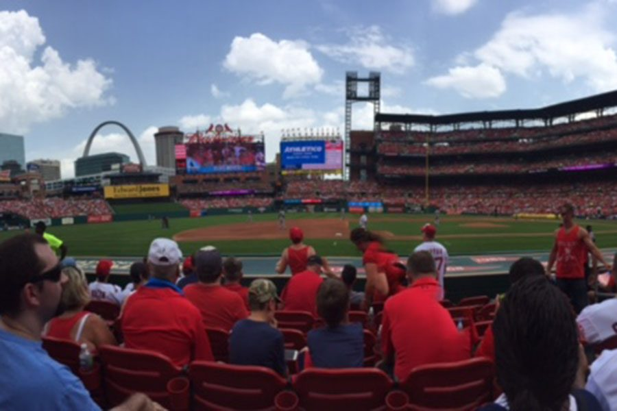 A view from the third baseline at Busch Stadium in June. This is Dexter Fowler's new home stadium. He previously played for the Chicago Cubs.