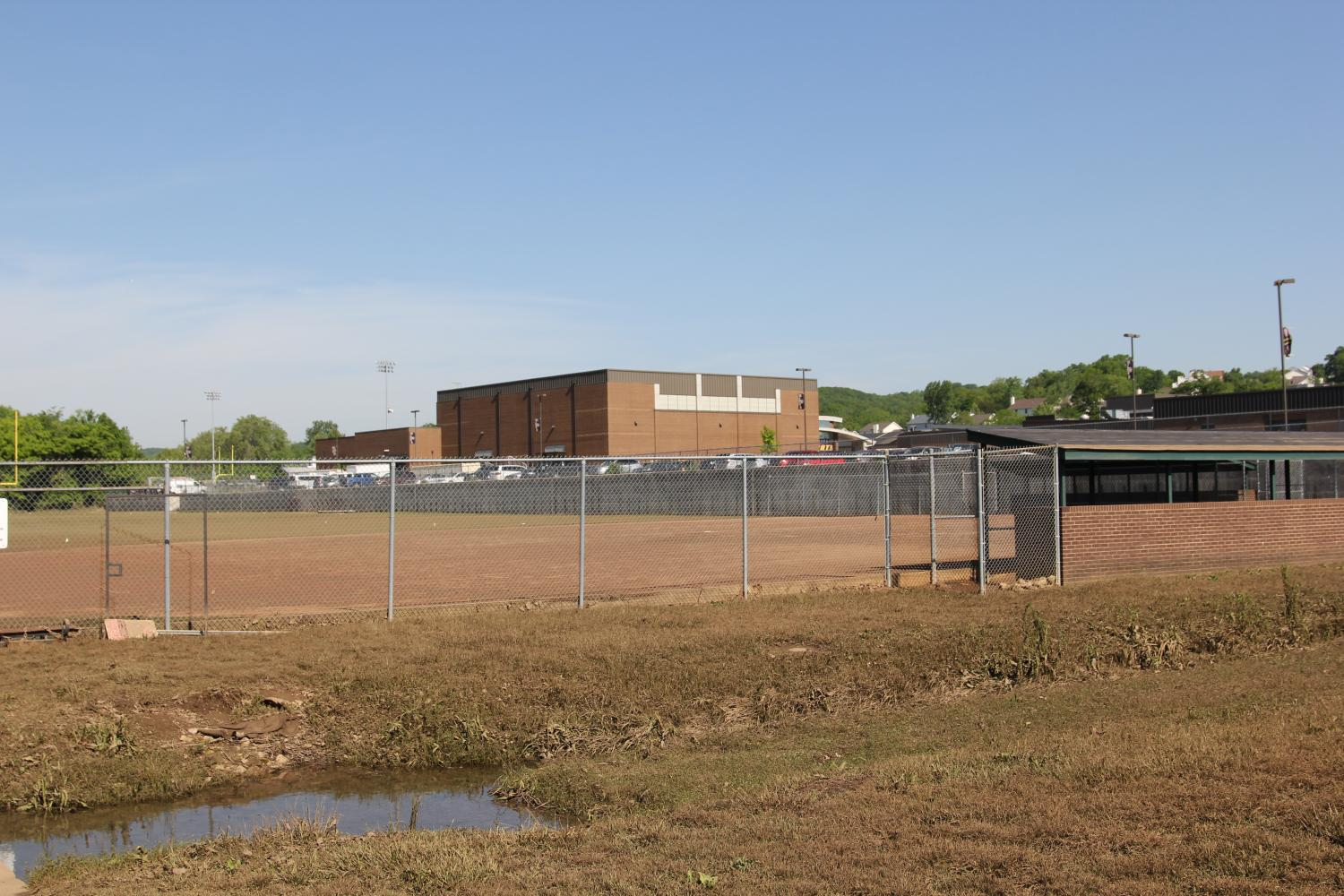 The baseball fields at EHS lay exposed once again after the flood of 2017, May 9.