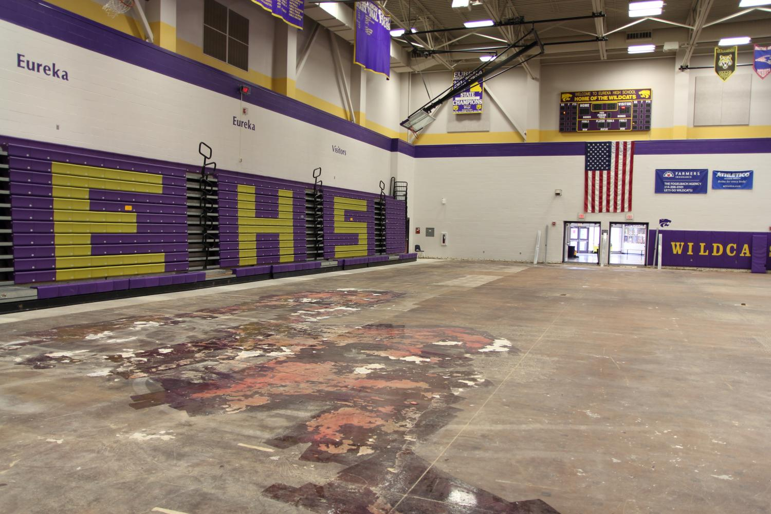 Gym A's wood flooring has been removed due to water damage from the recent flooding, May 11.