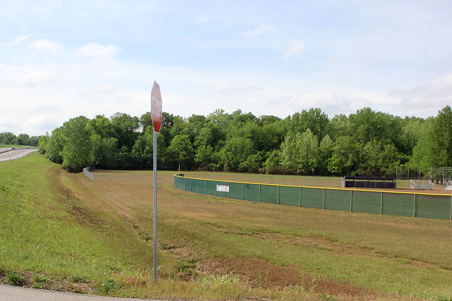 The baseball fields at EHS lay exposed once again after the flood of 2017, May 12.