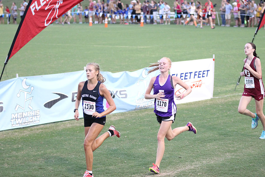 Sprinting to the end, Alexis Kleekamp runs to the finish line at the Memphis Twilight Meet in Tennessee, Sept. 2.