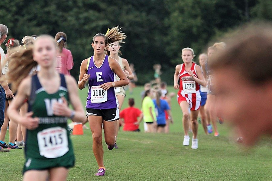 Adyson DeLaney (12) closes the gap between her competitors during the Twilight Classic in Memphis, Tennessee, Sept. 2.