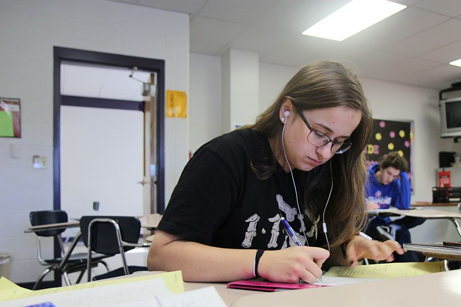 """Plugging numbers in from the unit circle, Emily Holtzman (11) works on her homework in Lyndsey Critchell's second hour Trigonometry class, Nov. 9. """"The hardest part of taking trigonometry is the fact that it seems to be a fairly good mix of Algebra 2 and Geometry,"""" Holtzman said. """"When you think of math, it's normally associated with numbers. Meanwhile they're teaching us equations with things like cos, sin, and tan, which is confusing. To get through the difficulty,  I just keep redoing the problems and trying them in every different way I can until I can get it right. I do all the homework assigned so I get as much practice as possible."""""""