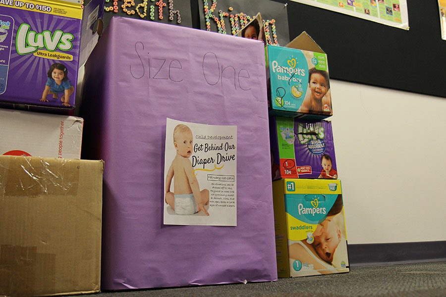 Boxes filled with diapers for the Diaper Drive fill Rachel Haywood's room, Feb. 12.